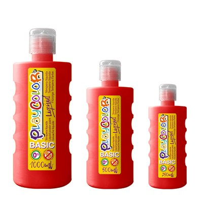 צבעי גואש טמפרה אדום | Playcolor Liqüid - Liquid poster paint BASIC RED 1000ml - 500ml - 250ml