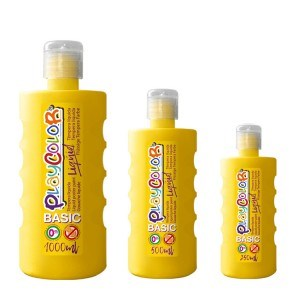 צבעי גואש טמפרה צהוב | Playcolor Liqüid - Liquid poster paint BASIC YELLOW 1000ml - 500ml - 250ml