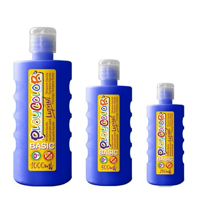 צבעי גואש טמפרה כחול | Playcolor Liqüid - Liquid poster paint DARK BLUE 1000ml - 500ml - 250ml