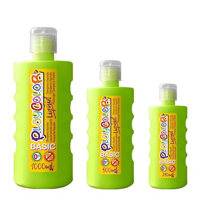 צבעי גואש טמפרה ירוק בהיר | Playcolor Liqüid - Liquid poster paint BASIC LIGHT GREEN  1000ml - 500ml - 250ml