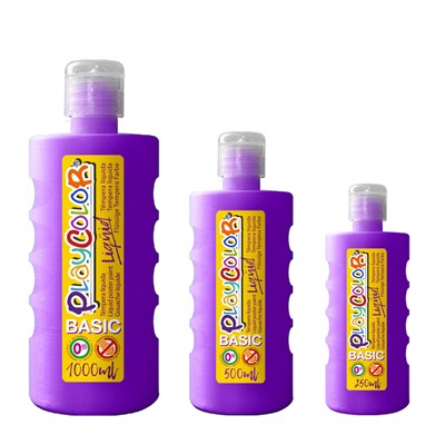 צבעי גואש טמפרה סגול | Playcolor Liqüid - Liquid poster paint BASIC VIOLET 1000ml - 500ml - 250ml