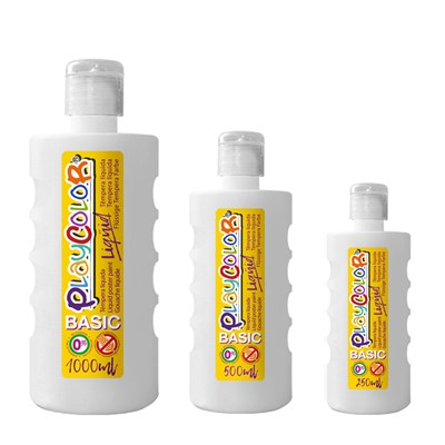 צבעי גואש טמפרה לבן | Playcolor Liqüid - Liquid poster paint BASIC WHITE  1000ml - 500ml - 250ml