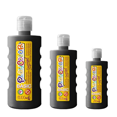 צבעי גואש טמפרה שחור | Playcolor Liqüid - Liquid poster paint BASIC BLACK 1000ml - 500ml - 250ml